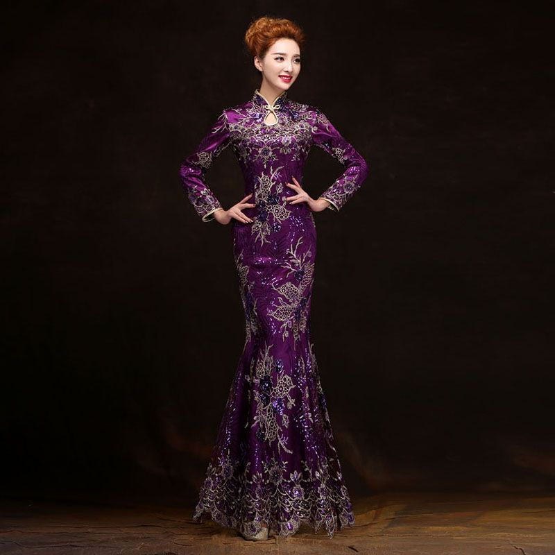 Purple Vintage Evening dress long sleeve long cheongsam dress chinese traditional dress qipao evening dresses gown plus size