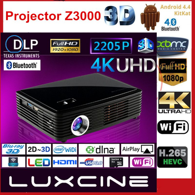 2017 NEW Luxcine 4K DLP LED Z4000 Home Theater 3D Projector Supports 2205P 1080P