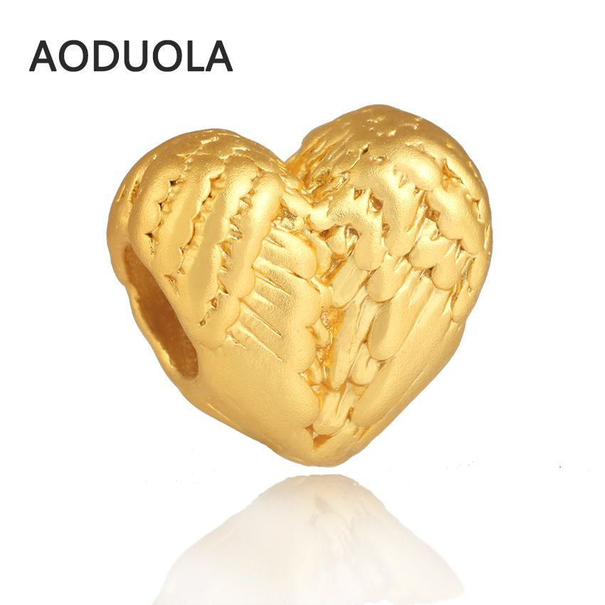 Heart Charm in Matt Pure Gold Color with Angel Wing Details beads Fit For Pandora Charm Bracelet & Jewelry Making