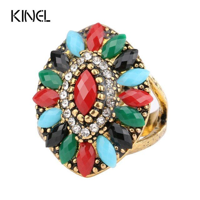 2017 New Vintage Jewelry Colorful Resin Rings For Women Antique Gold Color Crystal Gift