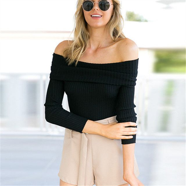 Autumn Winter Women Casual Sweatshirts Pullover Long Sleeve Sexy Strapless Tight Knitted Off Shoulder Female Hoodies