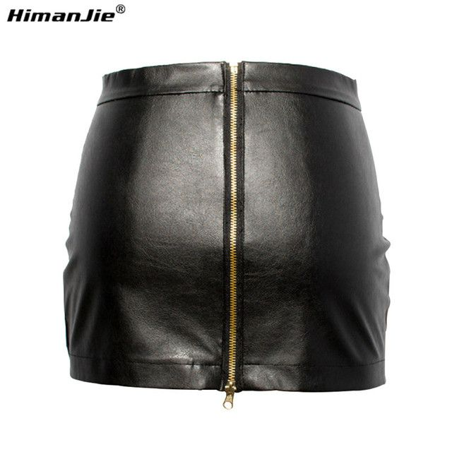 HimanJie Women Black PU Leather Tight Sexy Bodycon Mini Leather Skirt Short Pencil Skirts Clubwear