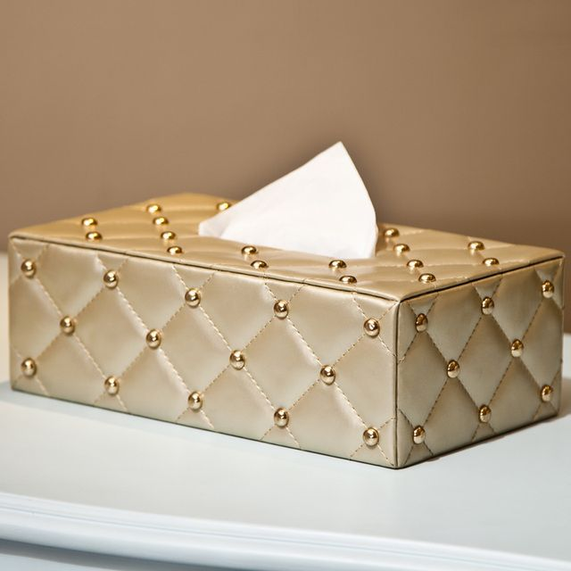 New Golden Tissue Car Box  Paper Napkin Holder PU Case Towel Cover Papers bag Home Decoration For Gift