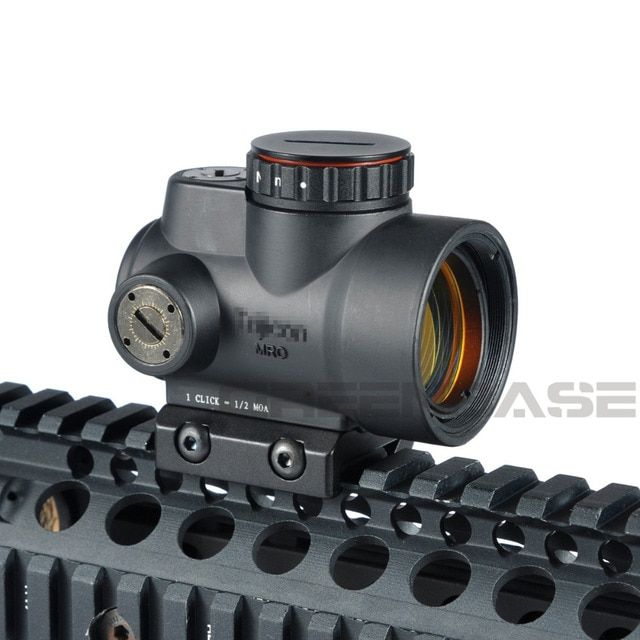 Greenbase Triji MRO 1x Red Dot Sight 2 MOA Tactical Red Dot Scope With Low / High Mount Airsoft Riflescope Hunting Shooting