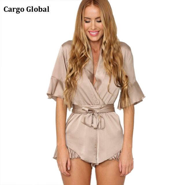 New Fashion Summer Style Imitation Satin Tie Sexy V Neck Flounced Lace One Piece Pants Rompers Women Jumpsuit L09