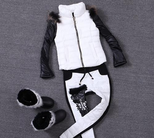 Winter Clothing New 2016 Cotton-padded Suit Full Sleeve Mandarin Collar Casual Women Two Piece Set LY1267