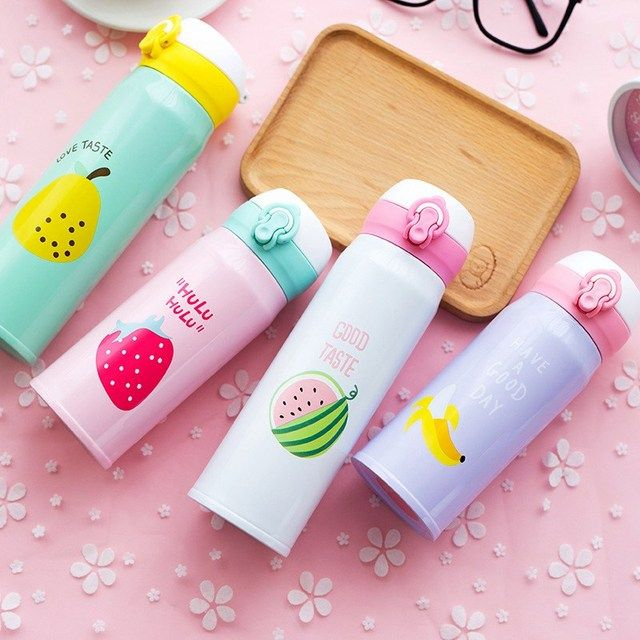 Korean Creative Fruit Bouncing Cover Insulation Cup Stainless Steel Thermos Bottle Portable Student Fruit Pattern Water Bottle