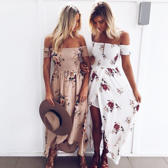 Inngraee 2019 Boho style long dress women Off shoulder beach summer dresses Floral print Vintage chiffon white maxi dress NS8468