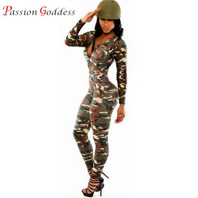 2016 Sexy Bodycon Camouflage Jumpsuit V neck Long sleeve Skinny Slim Bodysuit Women Romper Casual Stretch Fitness Long Jumpsuits