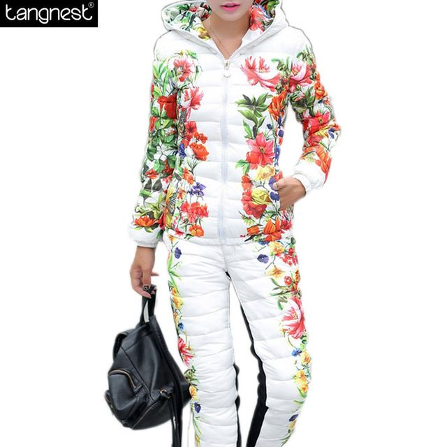 TANGNEST Winter Coat Suits Women 2017 Winter Jackets And Coats Floral Print Patchwork Slim Warm Set Cotton Coat Sets WAT270