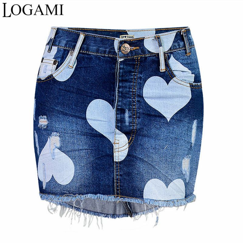 LOGAMI High Waist Denim Skirt Mini Pencil Skirts Womens 2017 Summer Star Print Irregular Short Saia Jeans Skirt Faldas
