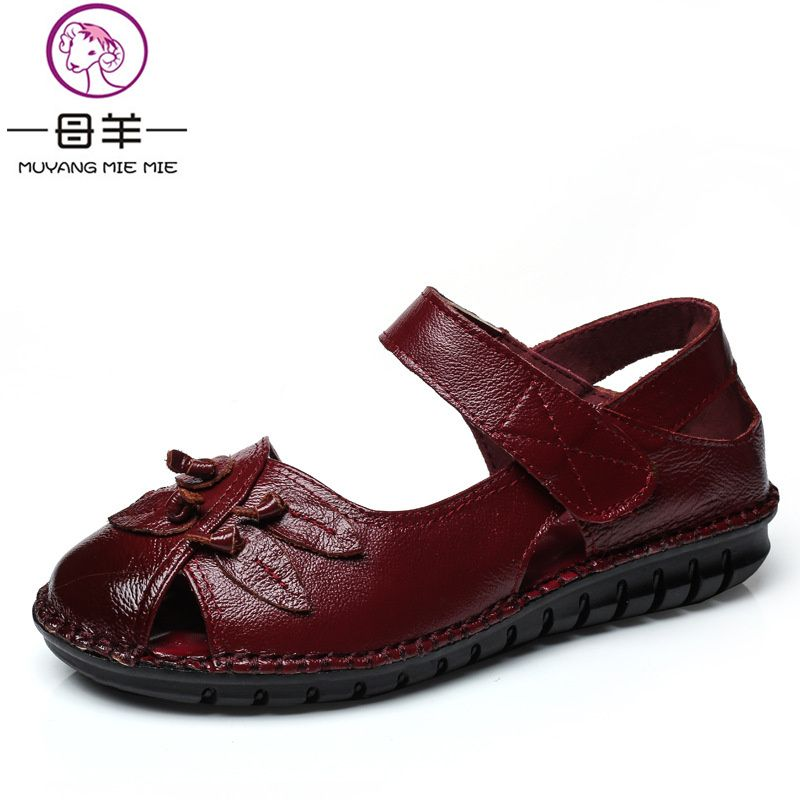 Summer Shoes Woman Genuine Leather Soft Outsole Open Toe Sandals Casual Flat Women Shoes 2018 New Fashion Women Sandals