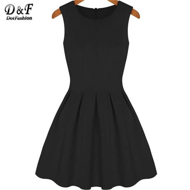 Spring/Summer New Fashion Women Clothing Elegant Sexy Cute Round Neck Sleeveless Pleated Flare Party Dress