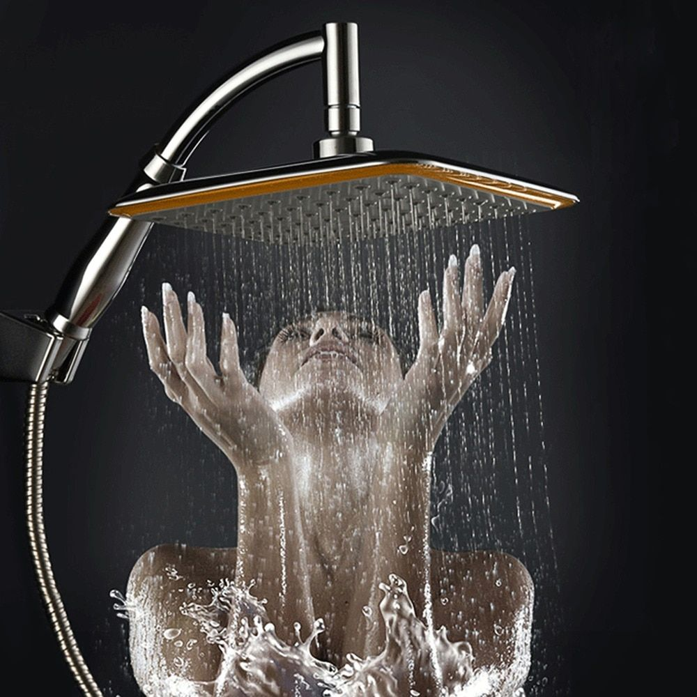 "new arrival Chrome Finished Wall Mounted Brass Shower Arm + Ultrathin Square 9"" Shower Head + 2 Conversion of rod"
