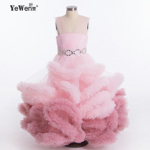 New design Gradient Cloud little flower girl dresses for weddings 2016 Kids Dress for Princess Holiday Party Wedding Girl Dress
