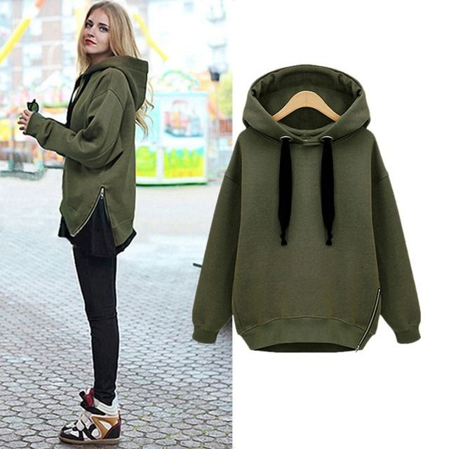 Women Hoodies Sweatershirt 2017 Fashion Side Zipper Ladies Fleece Spring Winter Long Sleeve Casual Hooded Female Pullover Solid
