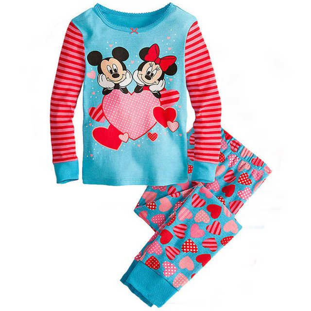 Childrens girls kids Clothing Sets Minnie Mouse Suits 2 pcs Spring Autumn Sleepwear Cotton Long Sleeve cartoon pajamas Set
