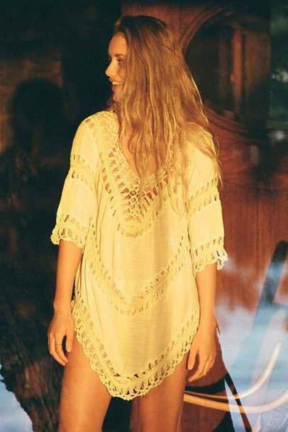Embroidery Lace Crochet knit Splice Blouse Bohemian Beach Top Boho Shirt Women Plus Size Blouse