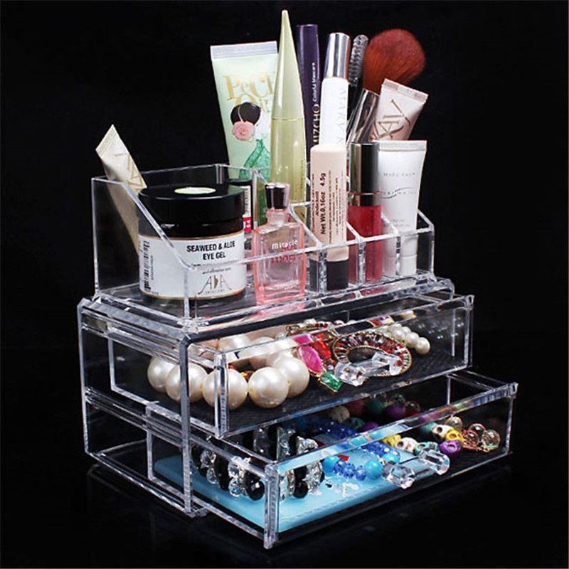 Clear Make up Organizer Acrylic Makeup Organizer Storage Box Portable Cosmetic Storage Drawers for Jewelry