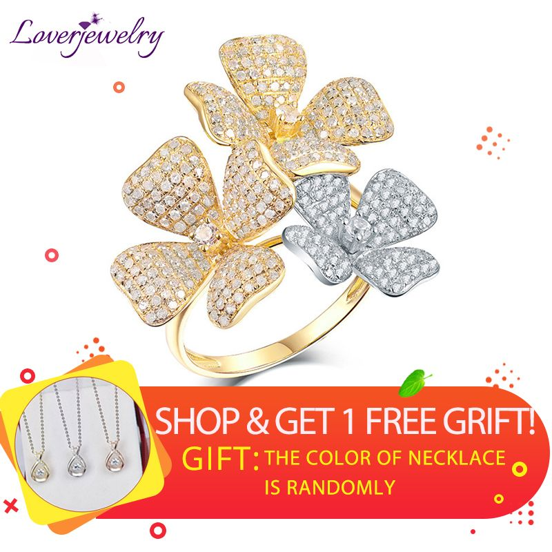 LOVERJEWELRY Lady Ring Real 18K Two Tone Gold Diamonds Ring Charming Wedding Flower Diamond Rings for Wife Luxury Fine Jewelry