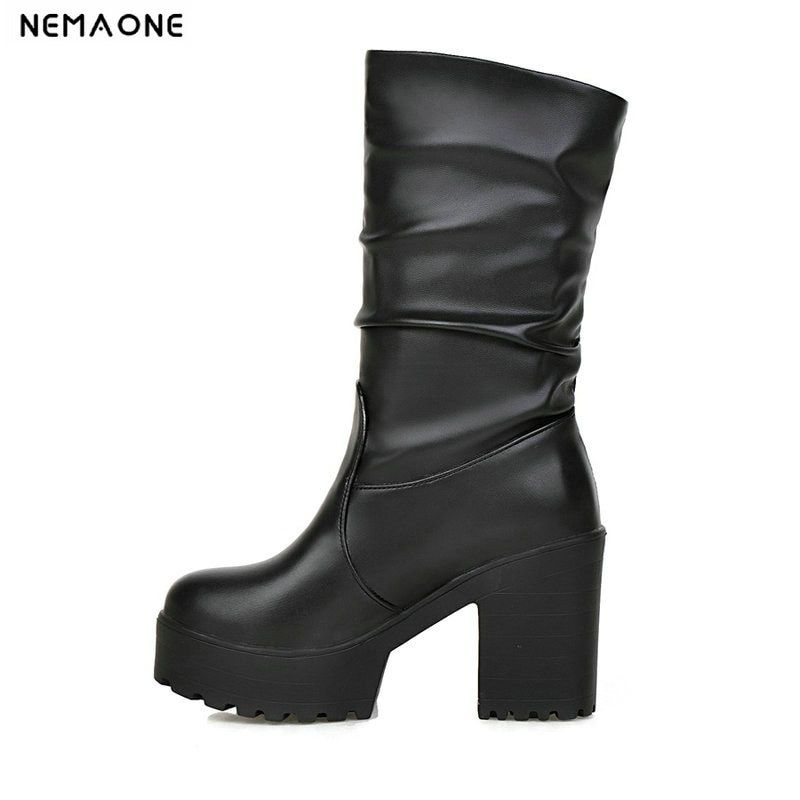 NEMAONE New fashion Knee-high women Boots Women's thick high heel Platform Boots Winter western Boots Shoes woman size 34-43