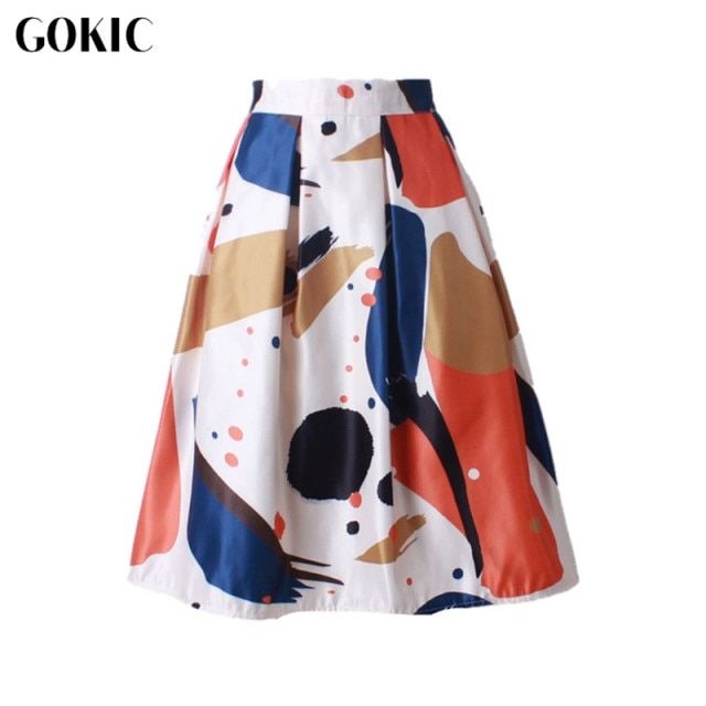 GOKIC 2017 Audrey Hepburn Style Women's Vintage Retro Watercolor Print Pleated Skirts High Waist A-Line tutu Midi Skirt