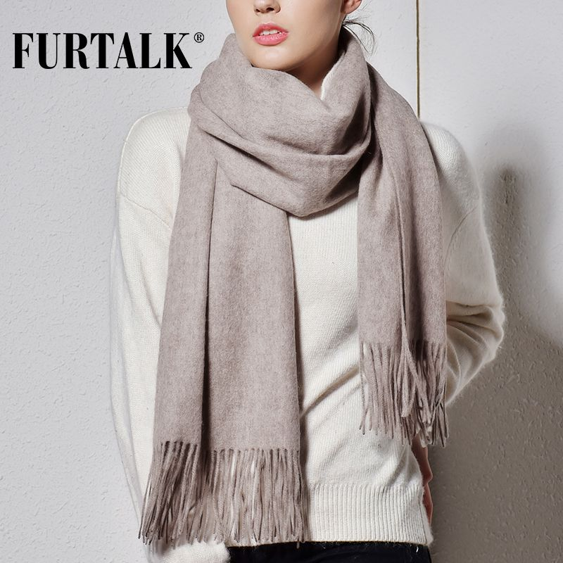 FURTALK 100% Lamb Wool Scarf for Women Cashmere Wool Scarf Pashmina Bandana Winter Autumn Long Women Scarf Shawls foulard femme