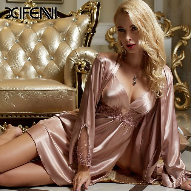 XIFENNI Spring Stain Silk Womens Pajamas PJS Femme Pyjamas Lace Robe Sexy Sleepwear Bathrobe M-3XL