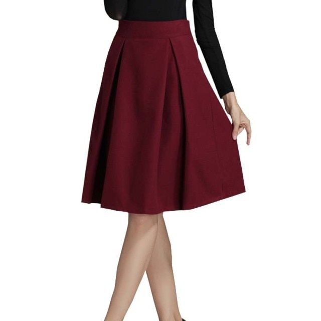 2017 New Winter Wool Skirts Women Fashion European Style Vintage Hepburn Wind Solid High Waist Pleated Midi Skirt Saia faldas