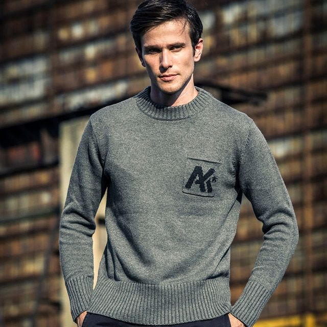 AK CLUB Brand Wool Sweater For Men Casual Crew Neck Patch Pocket Jacquard Knitted Sweater Cotton Wool Blended Rib Bottom 1503027