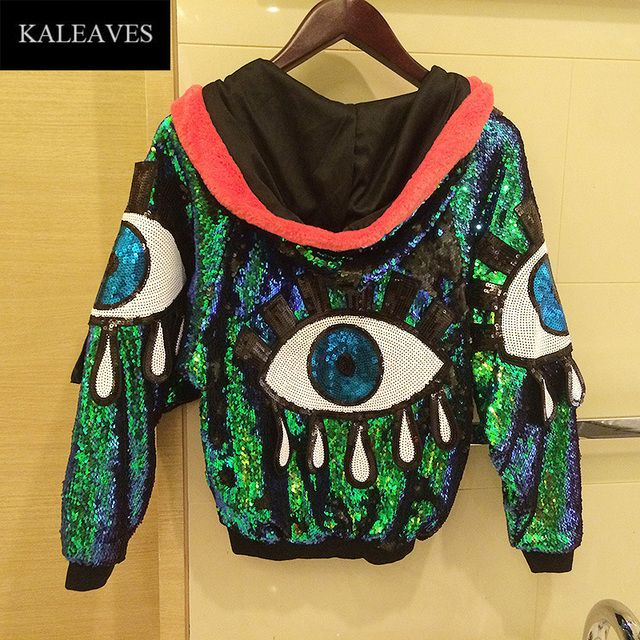Runway Stage Performance Women Sequin Eyes Jacket Female 2016 Autumn Hip Hop Dance Clothing Hot Sale Jackets With Hats