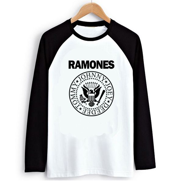 Loose Style Red hot chili peppers Punk Ramones Women PVC Letter Print T-shirt Female Raglan Long Sleeve Tshirt T Shirts