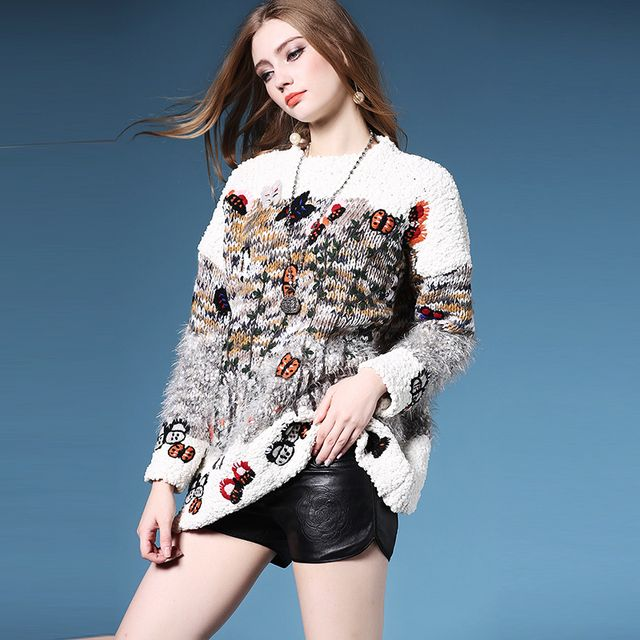 Elegant Sweater 2016 New Autumn Fashion New Long Sleeve Luxury Embroidery Knitting Top Grade Women Sweater