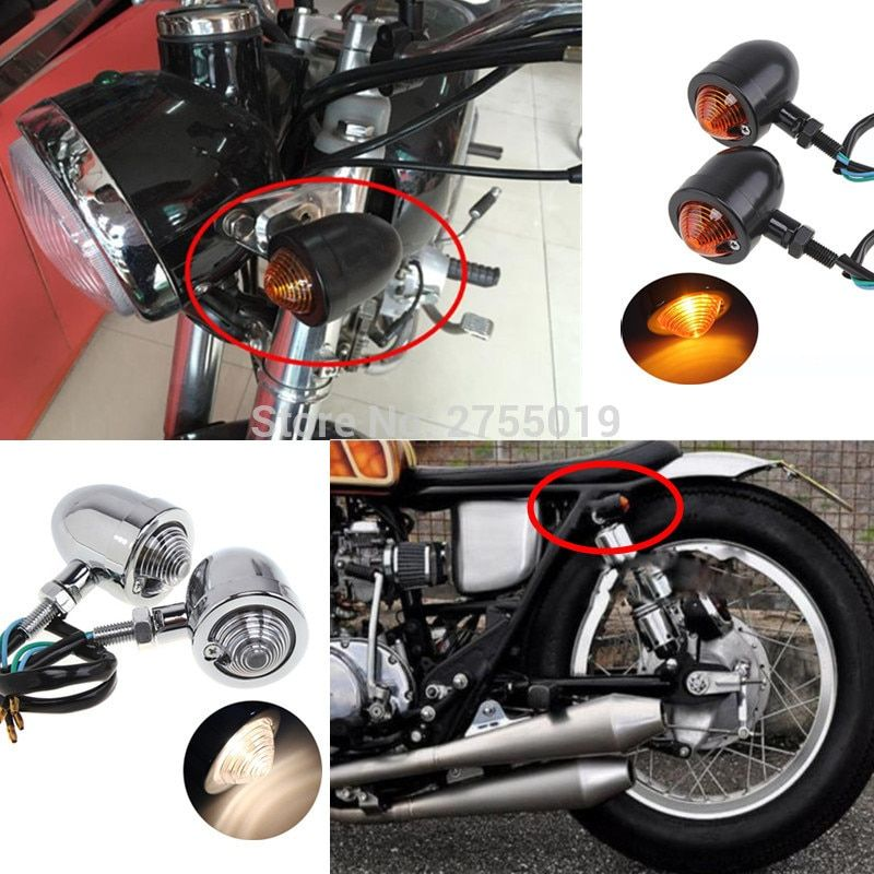 Universal retro Motorcycle Metal bullet Turn Signal Indicators Blinker Light Lamp For Cafe Racer  Harley Honda BMW