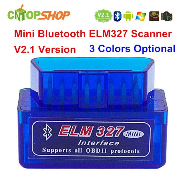 3 Colors ELM327 Bluetooth MiNi ELM327 V2.1 Wireless ELM 327 OBD2 OBDII Interface Auto Diagnostic Scanner Works on Adroid & PC