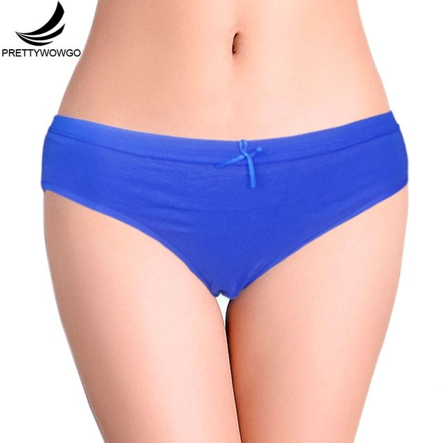 Prettywowgo New Arrival 2018 Solid Color Cotton Women Briefs Panties 6953