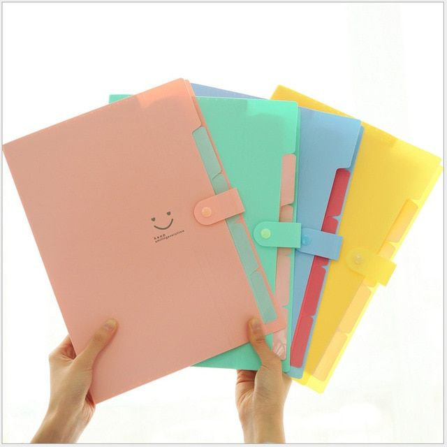 5 Pcs/lot Creative PP 5 layers folder file bag document bag expanding wallet bill folder office stationery