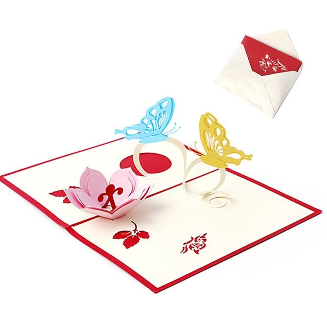 3D Pop UP Holiday Greeting Cards Flower Butterfly Christmas Thanksgiving Gift -Y102