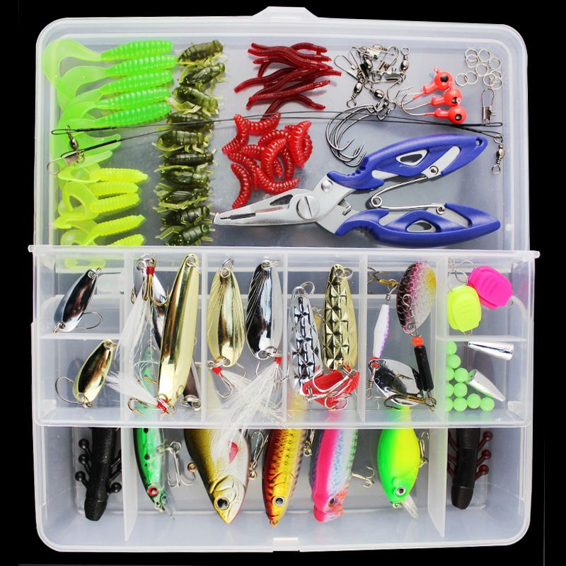 101Pcs/set  Artificial Fishing Set Lure with Box Hard Soft Bait Minnow Spoon Crank Shrimp Jig Lure Fishing Tackle Accessories
