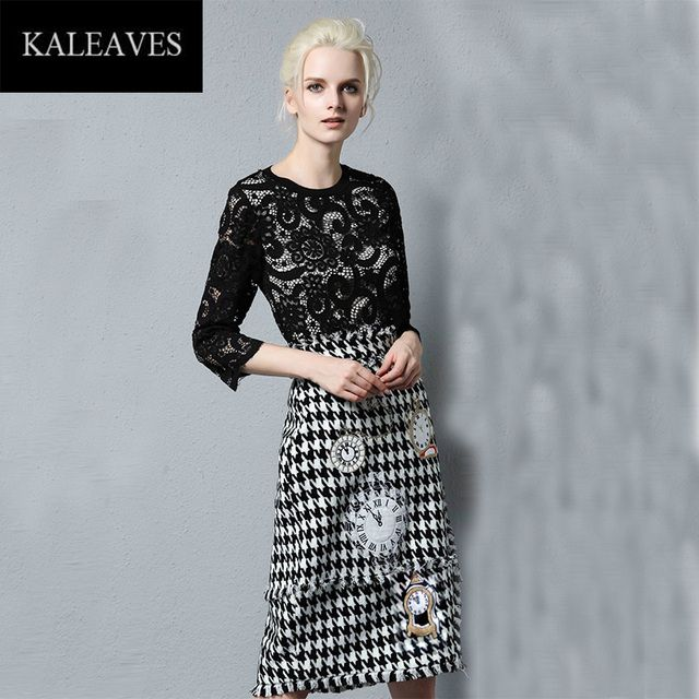Autmun Fashion 2 Piece Women Sets Hot Sale Black Long Sleeve Lace Tops +Houndstooth Embroidery Skirt Slim Runway Suits