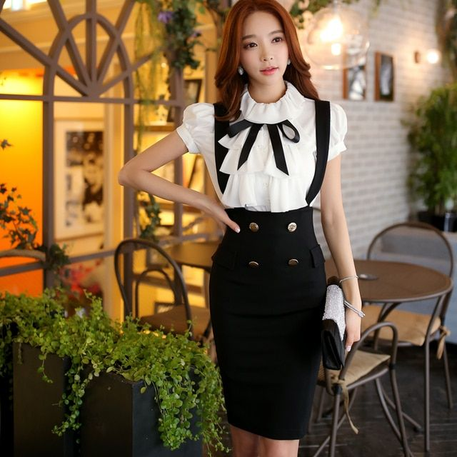 Original 2016 Brand Faldas Lolita Summer  Slim Elegant Double Breasted Zipper Black Pencil Braces Skirt Women