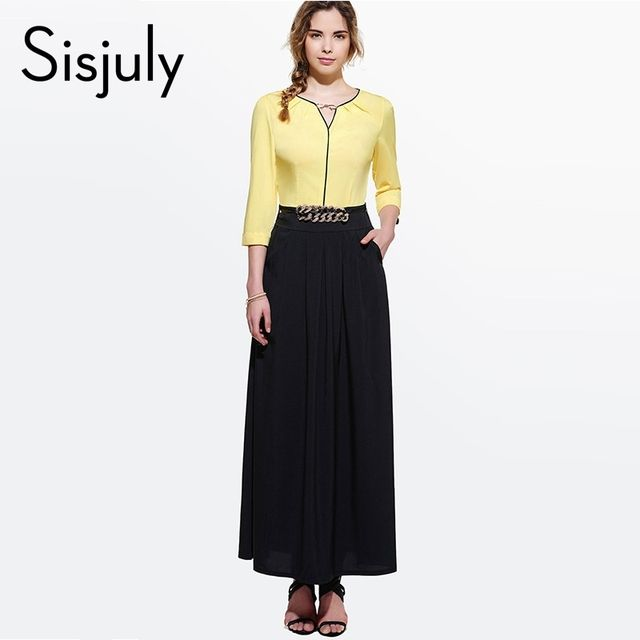 Sisjuly Floor-Length Maxi Dress Elegant Women Color Block 3/4 Sleeve Bowknot Chain Decorated Long Casual Party Dress