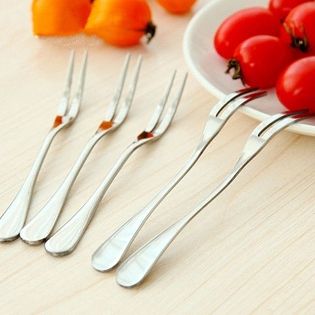 5pcs! High quality 2 Tooth 3 Tooth 4 Tooth stainless steel fruit fork Dessert Fork for the kitchen cooking tableware