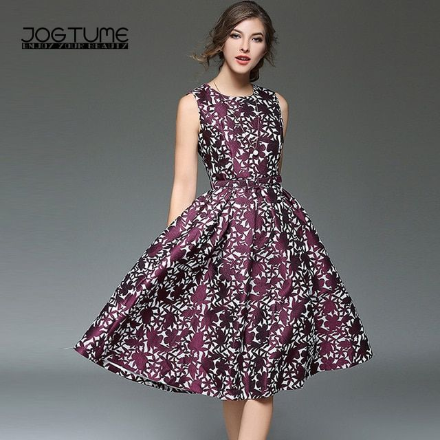 JOGTUME 2017 Spring and Summer Women's O-neck Sleeveless Printing Dresses Ladies Fashion Causal Party A-Line Dress Purple Color