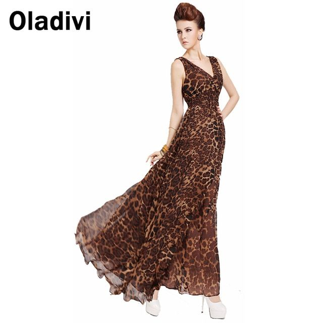 Oladivi XXXL Plus Size Cloth 2017 Summer New Ruffle Maxi Long Chiffon Dresses Women Leopard Sexy Vest Tank Dress Female Sundress