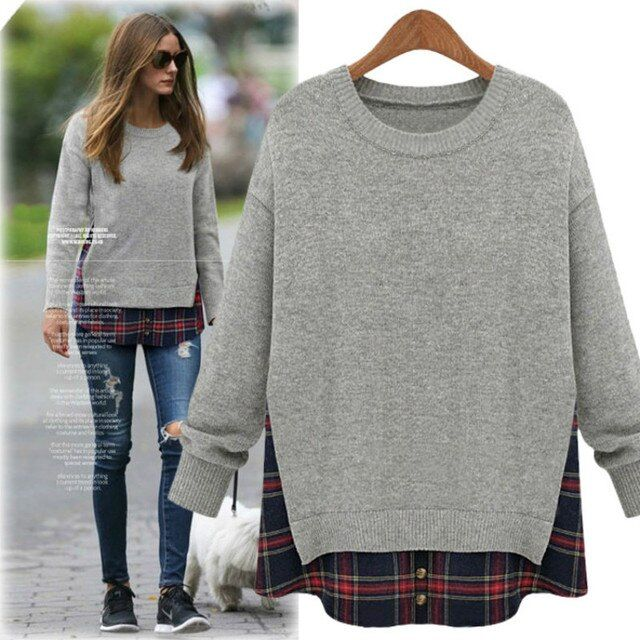 Plus Size Women Loose One-piece lattice Hoodies 2016  Spring Autumn Long Sleeved Sweatshirts Big Size Knit Shirt Blouse M-5XL B7
