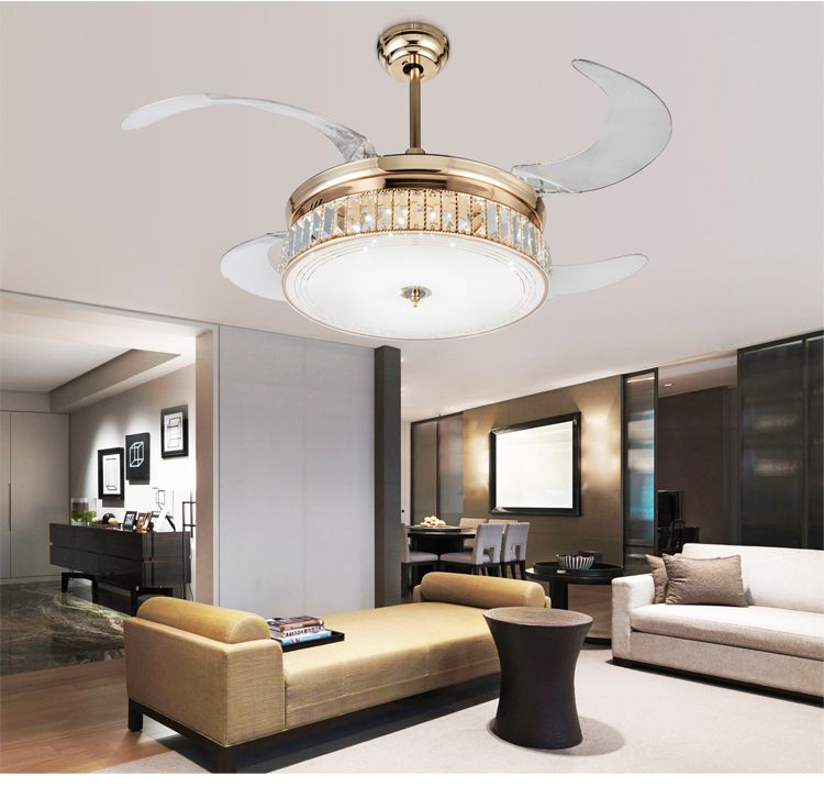 Dimming stealth ceiling fan lights Crystal folding retractable modern luxury LED lights crystal fan light with remote control