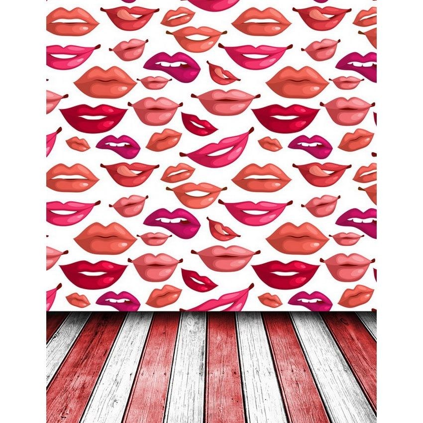 Custom vinyl cloth red lips pattern wood floor photography backdrops for wedding kids photo studio portrait backgrounds S-2190