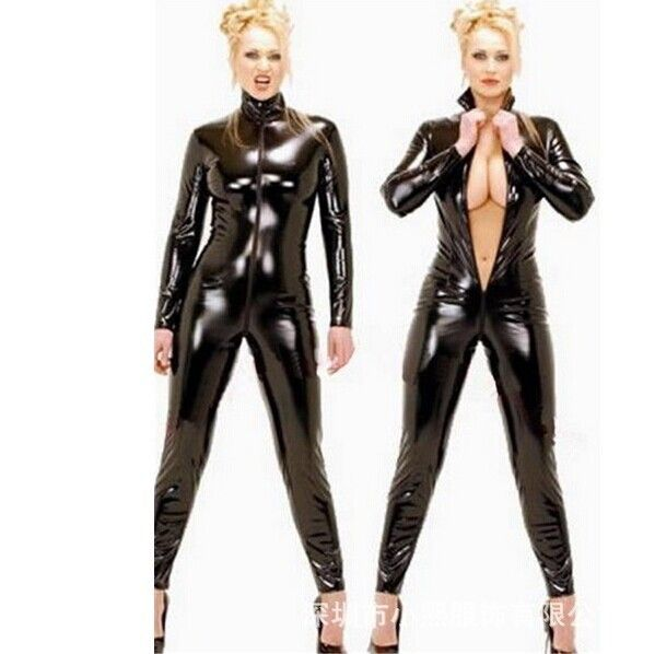 Retail Top PU Faux Leather Men Women Jumpsuit Unisex High Elastic Black Latex Zentai Catsuit Open Croth Zipper Catwoman Bodysuit