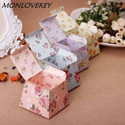 1pc/lot Pink Floral Flower Trapezoid Wedding Favor Candy Boxes Gift Box Sugar Candy Box Baby Shower Marriage Gift